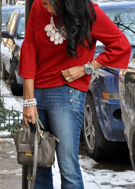 Red Bell Sleeve Top