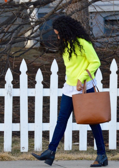 J Crew Highlighter Green Sweater