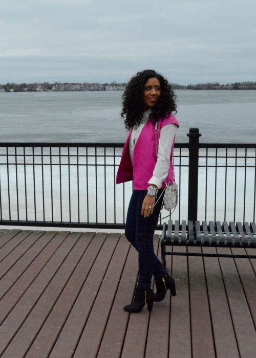 J Brand Pink Leather Vest