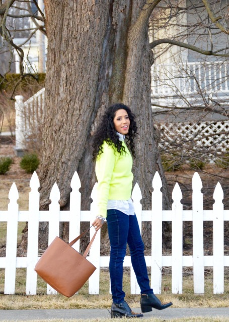 Highlighter Green J Crew Sweater