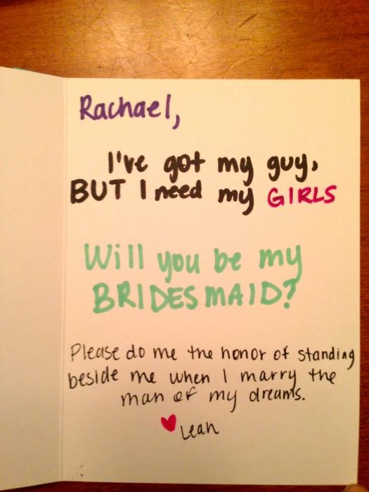 Asking your Bridesmaids