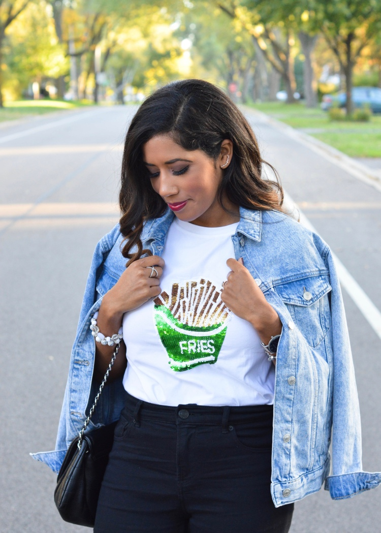 French Fries Sequined T-shirt