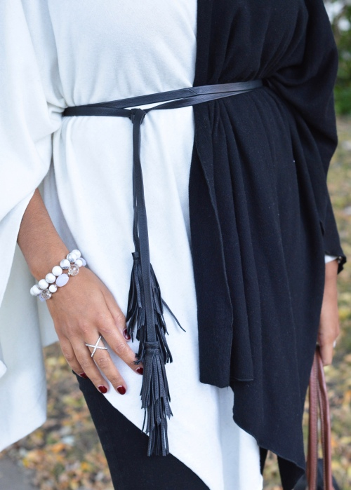 Black wrap tassel belt